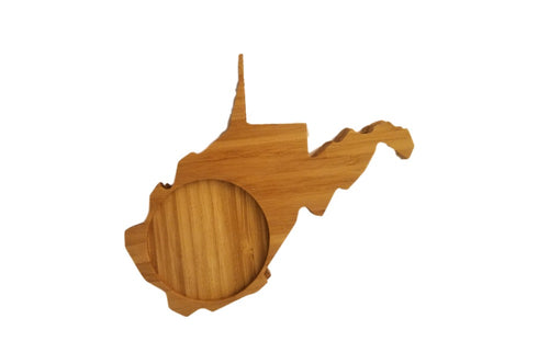 West Virginia State Shaped Bamboo Coasters (set of four)