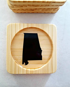 Natural Alabama (ANY STATE shape available!) Square Bamboo Coasters, Set of Four - CUSTOMIZE- Kitchen Decor, Barware, gift idea, Stocking Stuffer