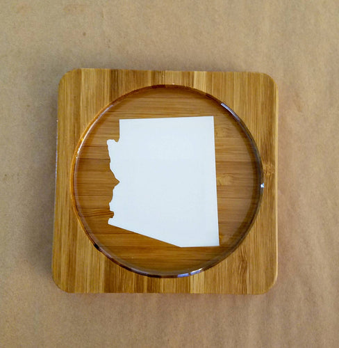 Arizona (ANY STATE shape available!) Square Bamboo Coasters, Set of Four - CUSTOMIZE- Kitchen Decor, Barware, gift idea, Stocking Stuffer