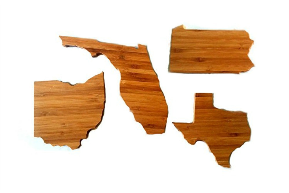 DESIGN YOUR OWN SET (set of four) Bamboo State Shape Coasters