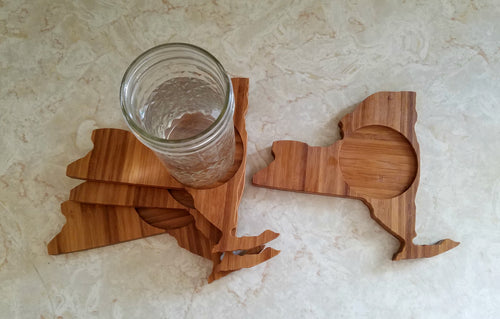 New York State Shaped Bamboo Coasters (set of four)