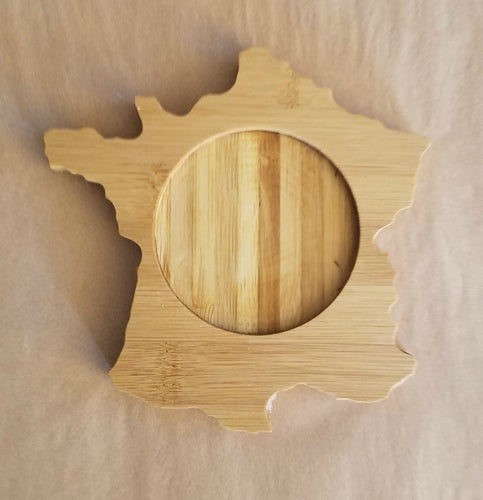 France Shaped Bamboo Coasters (set of four)