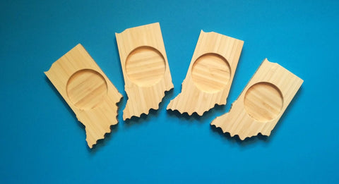 Indiana State Shaped Bamboo Coasters (set of four)