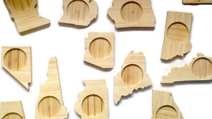 Create Your Own Set of FOUR State Shape Bamboo Coasters