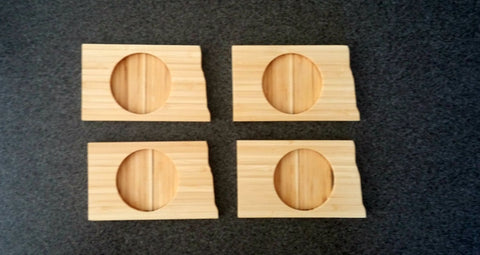 North Dakota State Shaped Bamboo Coasters (set of four)