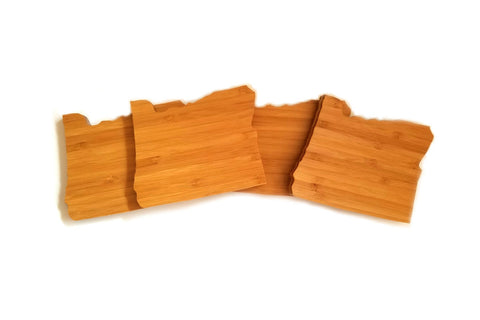 Oregon State Shaped Bamboo Coasters (set of four)