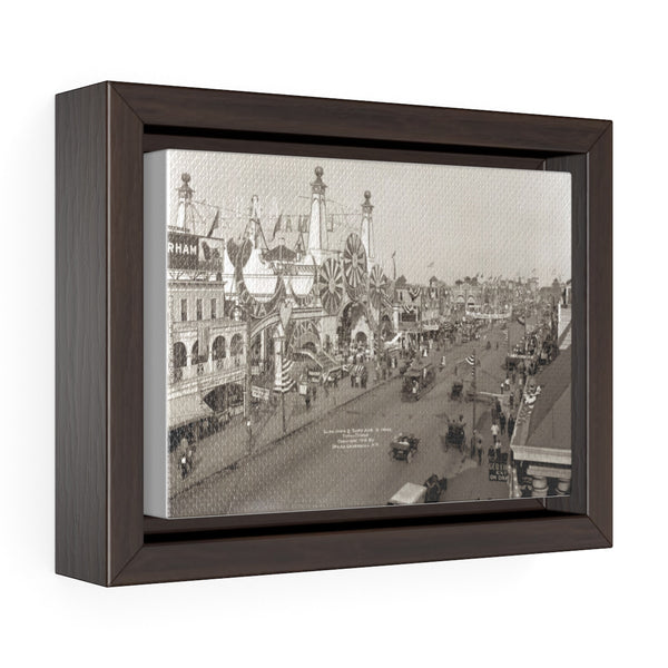 Coney Island Vintage Photo - Horizontal Framed Premium Gallery Wrap Canvas