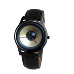 """Speaker alike"" 30 Meters Waterproof Quartz Leisure Watch With Black Genuine Leather"