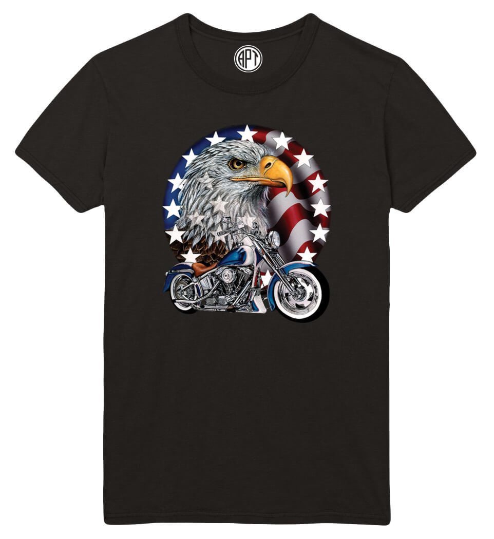 Red White and Bold Eagle Flag Motorcycle Printed T-Shirt-Black