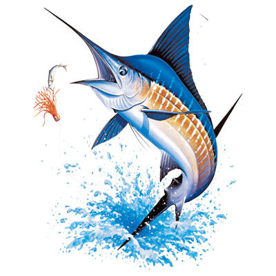 Blue Marlin Sport Fishing Printed T-Shirt-Aquatic-Blue