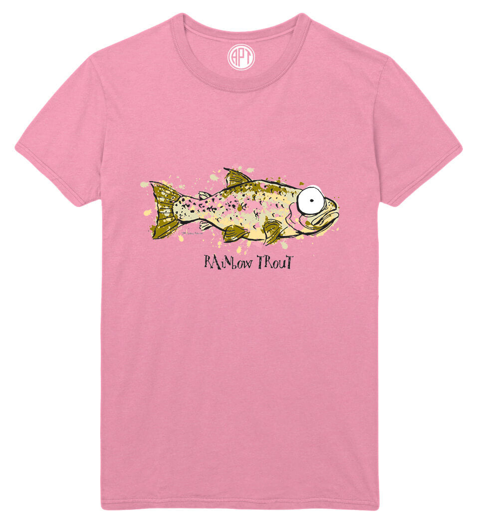 Big Eye Rainbow Trout Printed T-Shirt-Candy-Pink
