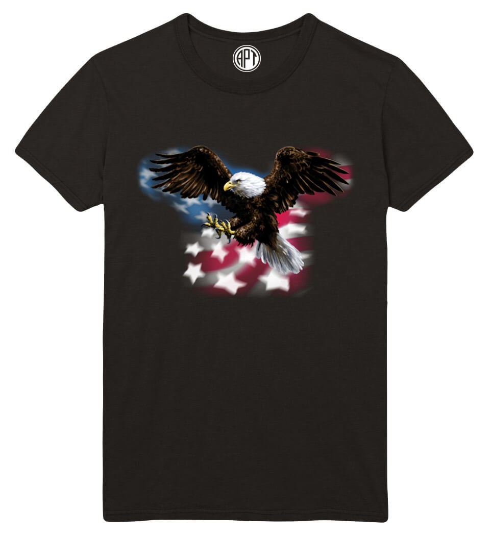 Eagle with American Flag Printed T-Shirt-Black