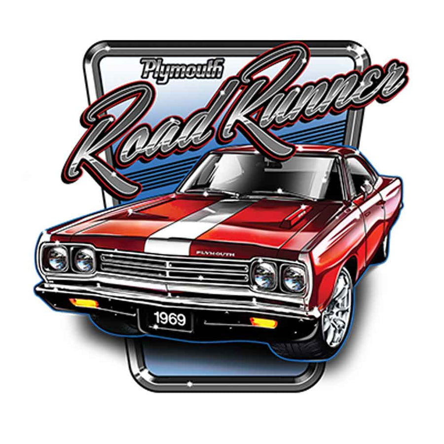 Plymouth Road Runner 1969 Printed T-Shirt-Black