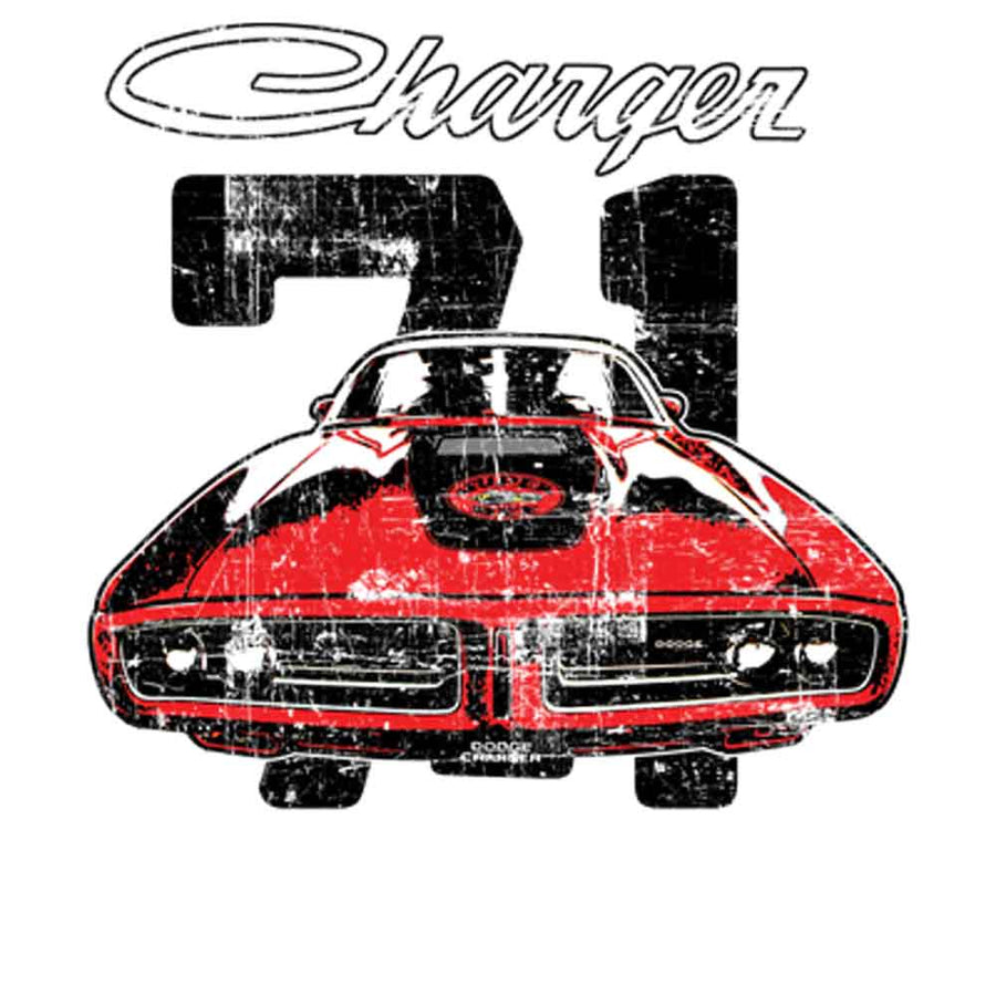 1971 Dodge Charger Printed T-Shirt-Black
