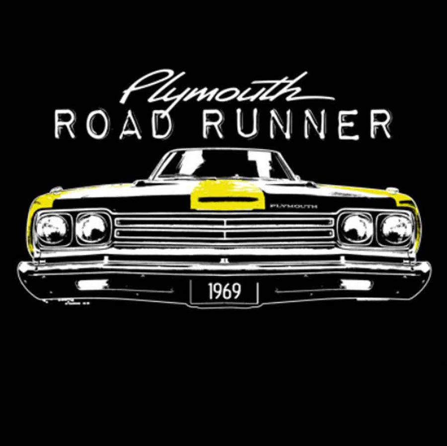 Yellow Plymouth Road Runner 1969 Printed T-Shirt-Black