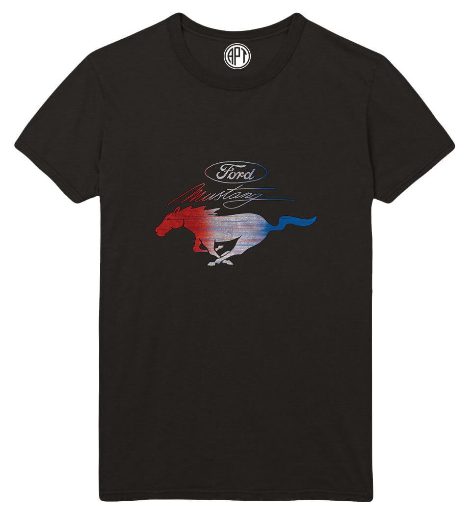 Red White and Blue Mustang Printed T-Shirt-Black