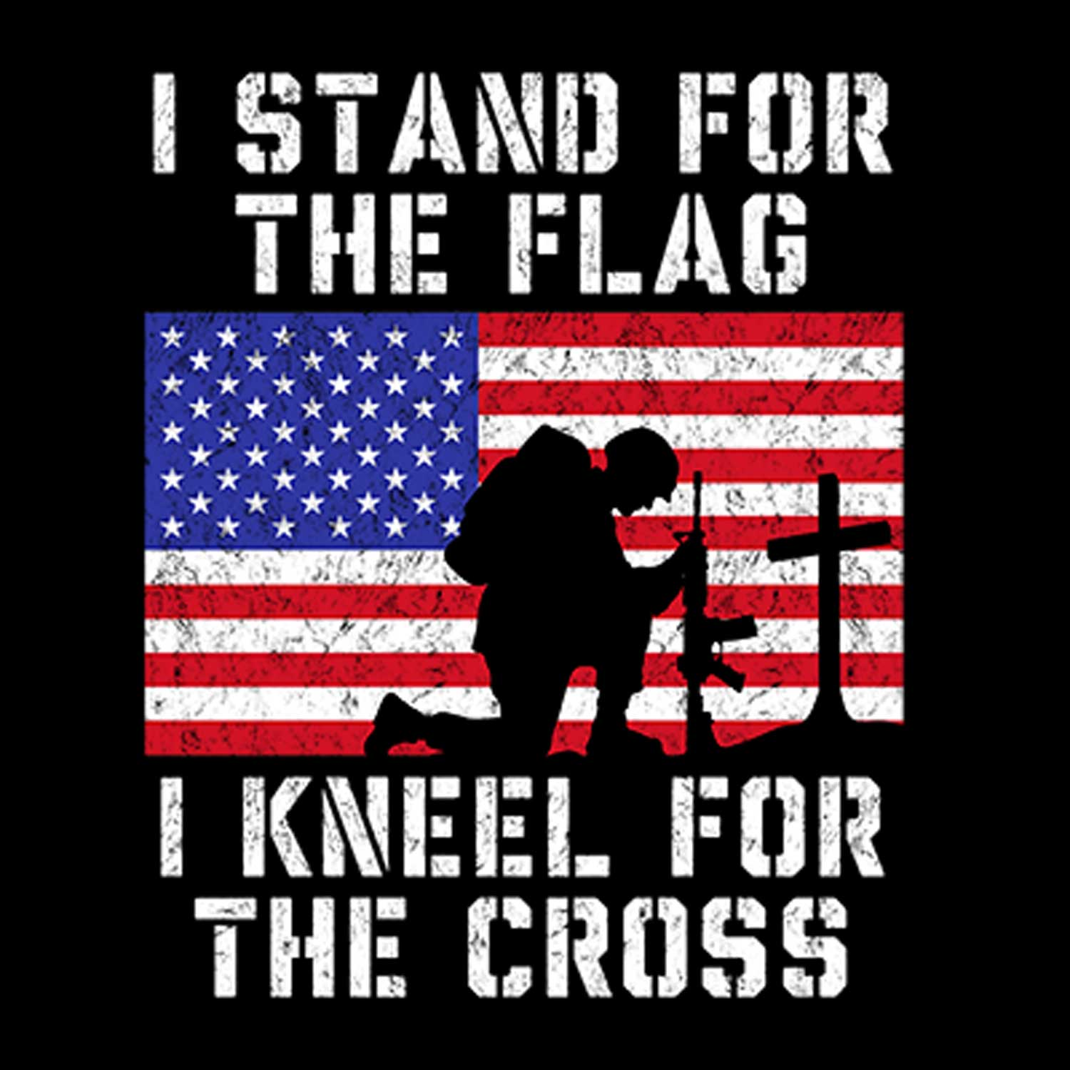 Stand for Flag Kneel for Cross Printed T-Shirt-Black