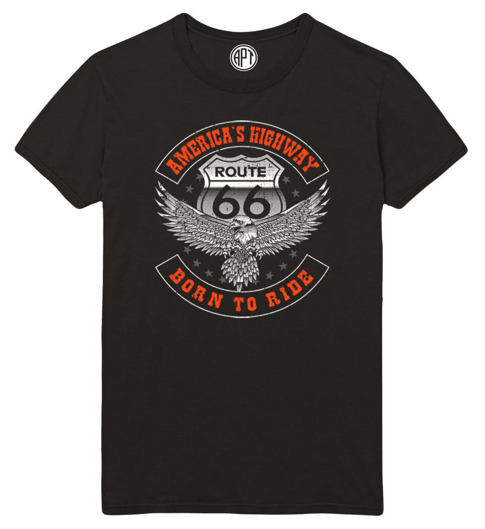 America's Highway Route 66 Printed T-Shirt-Black