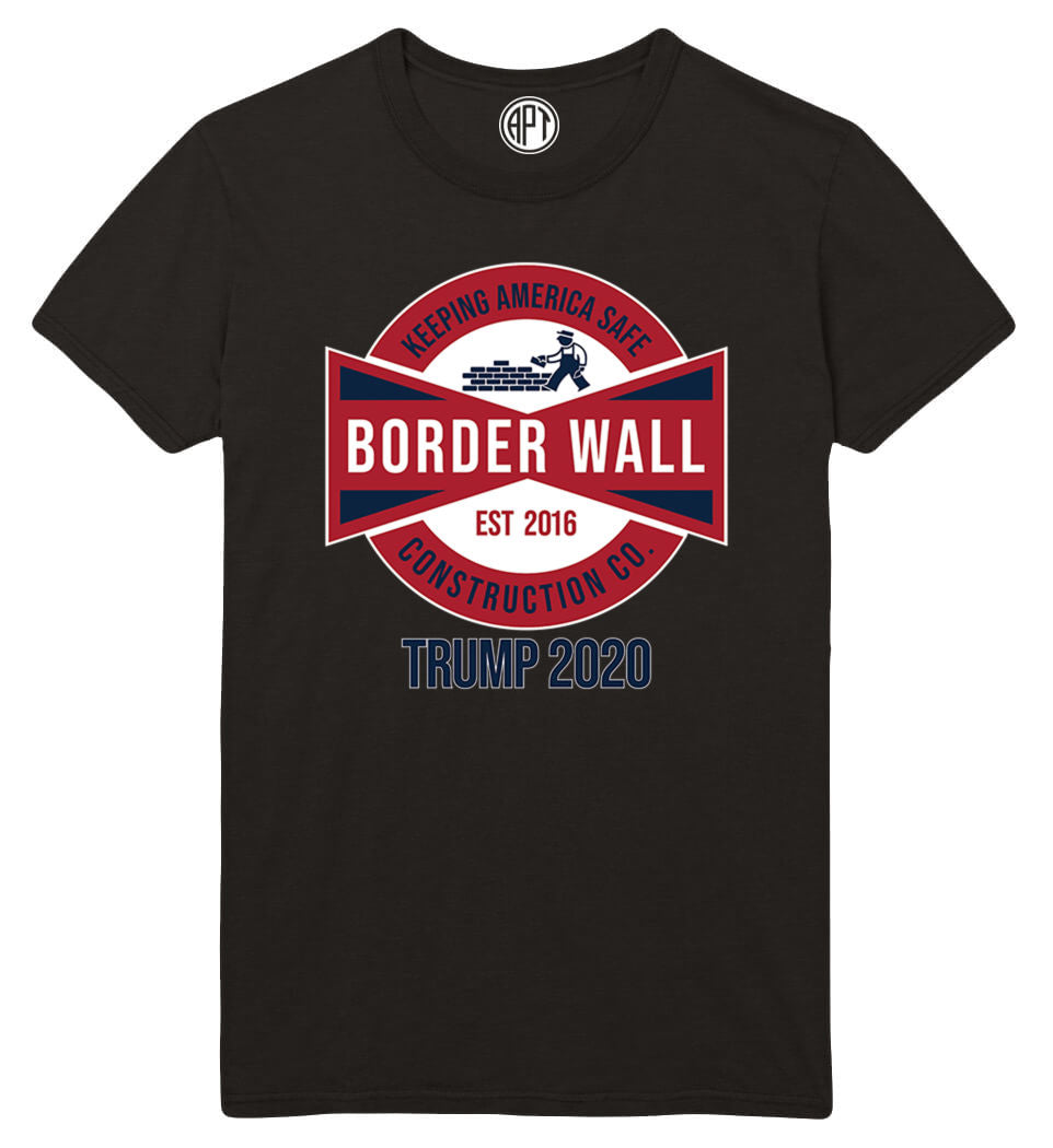 Build The Wall Keep America Safe Trump 2020  Printed T-Shirt-Black