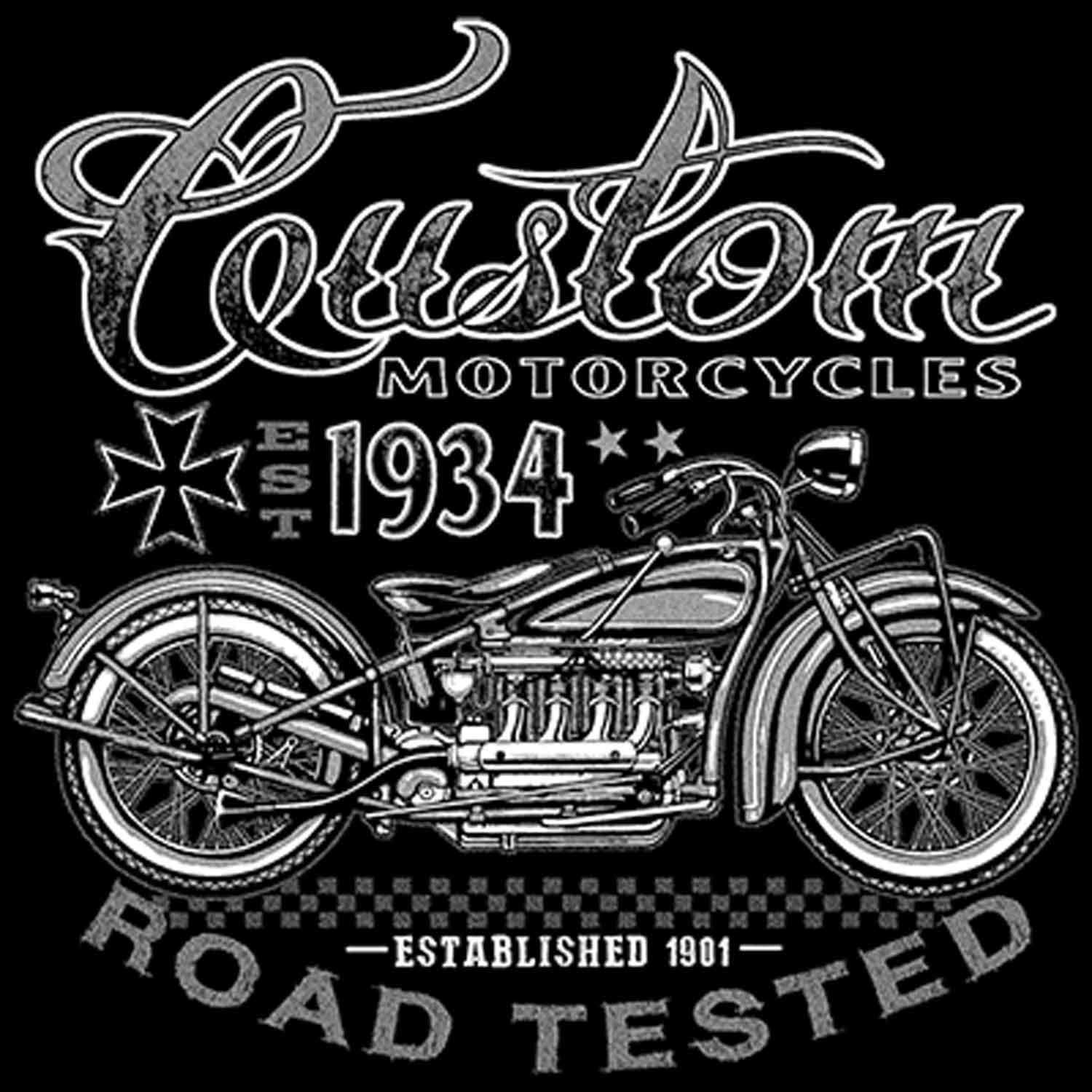 Custom Motorcycles Road Tested Printed T-Shirt-Black