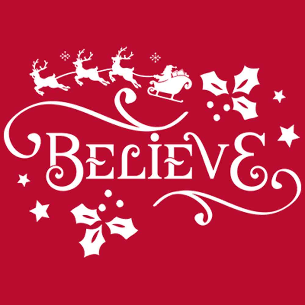Believe Holiday Printed T-Shirt-Kelly-Green