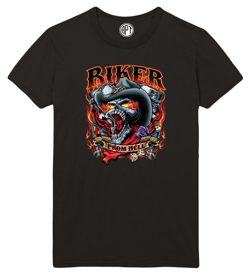 Biker from Hell Printed T-Shirt-Black
