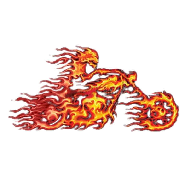 Flame Biker Motorcycle  Printed T-Shirt Tall
