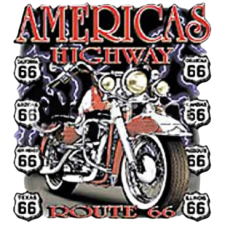 American Highway Motorcycle Printed T-Shirt