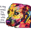 Dog Wags Pitbull Neon Printed T-Shirt