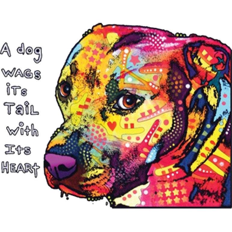 A Dog Wags Its Tail Pitbull Neon Printed T-Shirt