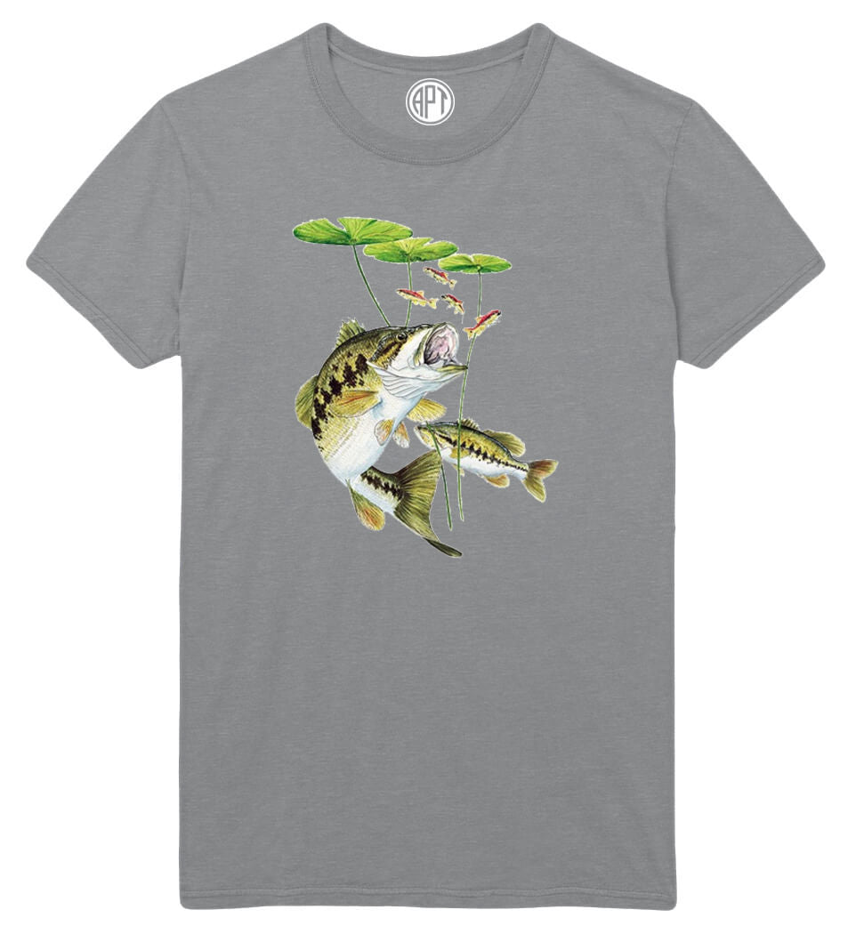 Bass Under Lily Pad Printed T-Shirt