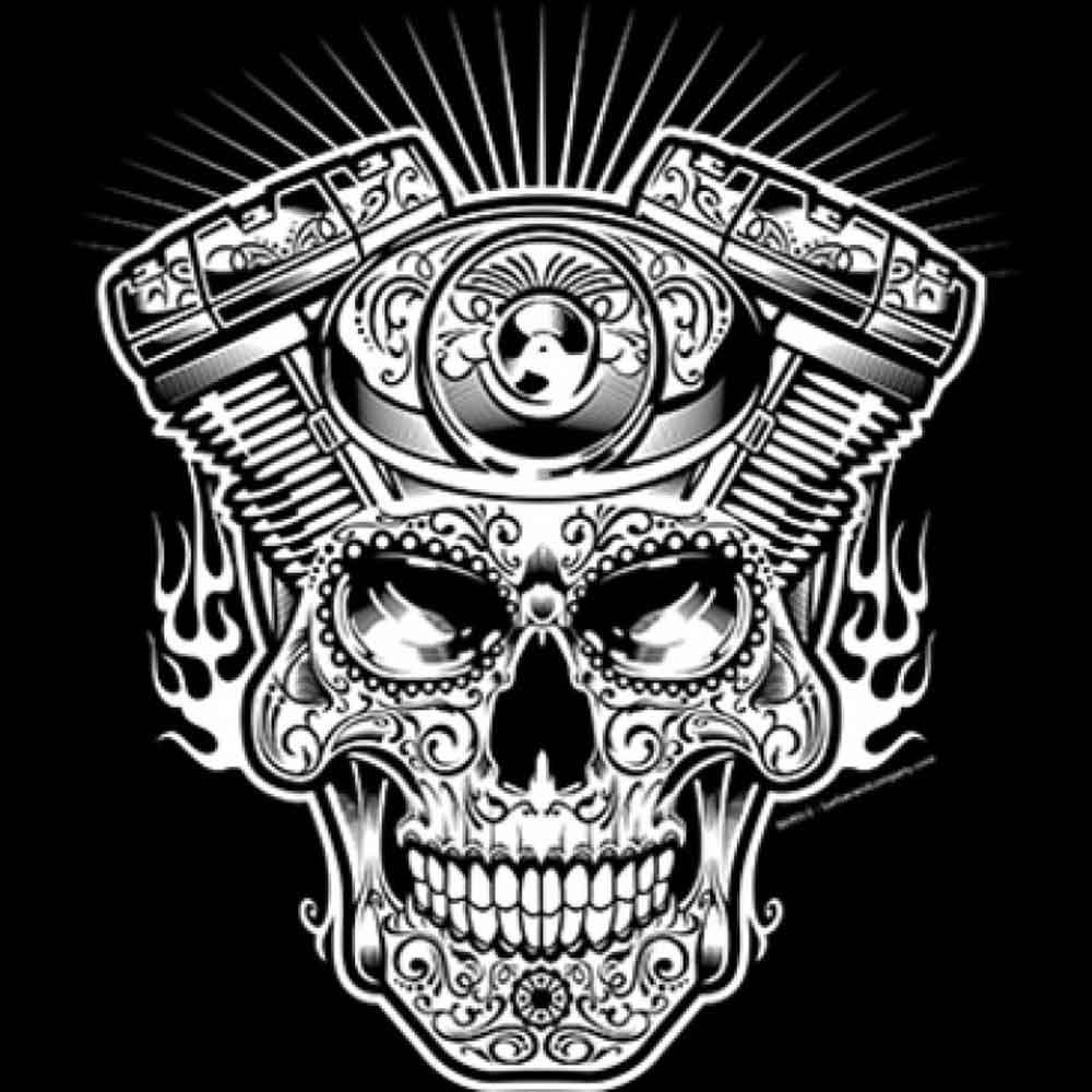 Day of The Dead Skull Engine  Printed T-Shirt-Black