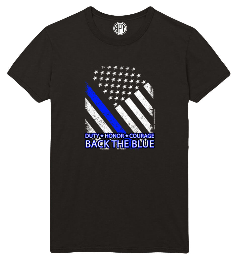 Duty, Honor, Courage, Back The Blue Printed T-Shirt-Black