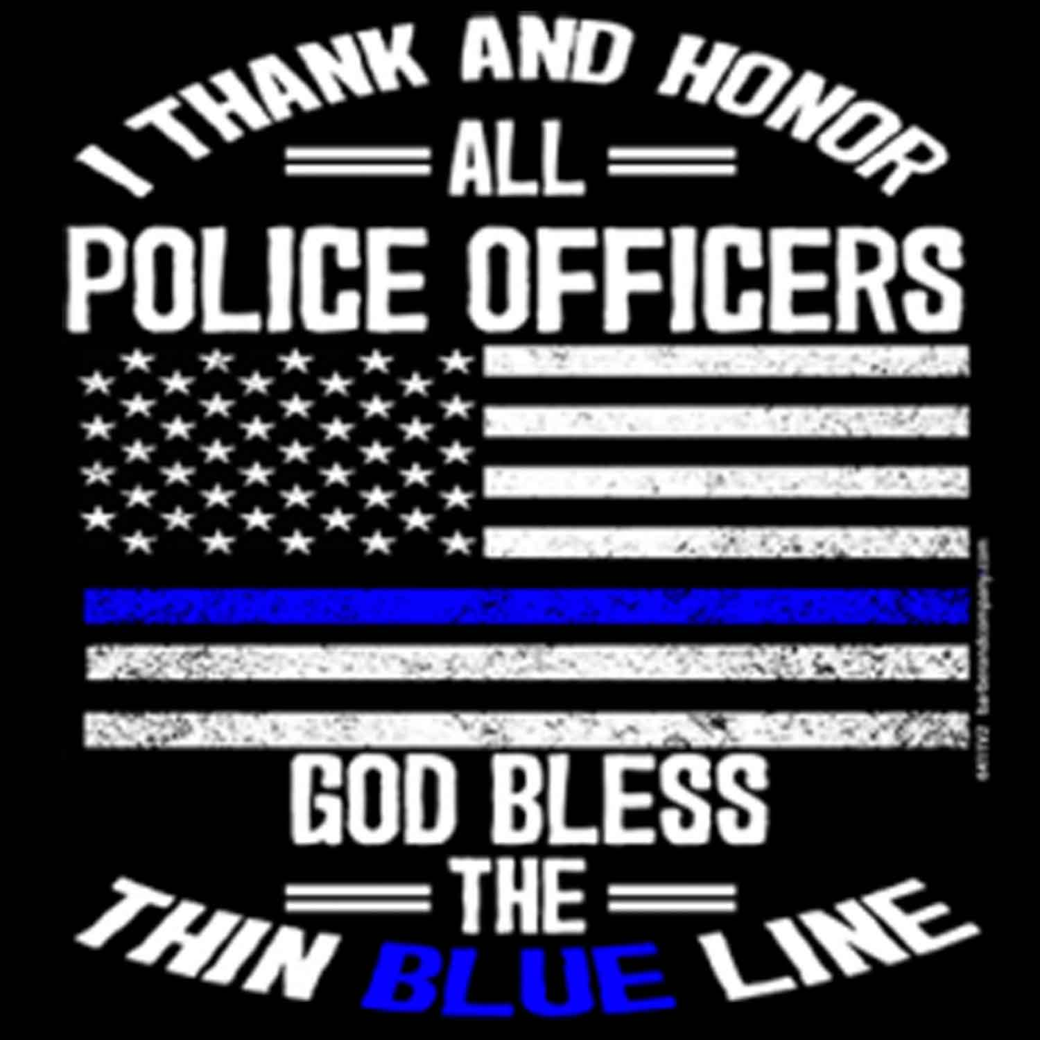 Thank and Honor All Police Printed T-Shirt-Black