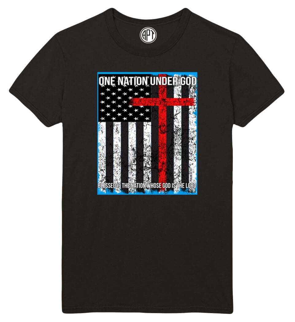 One Nation Under God with Flag Printed T-Shirt-Black