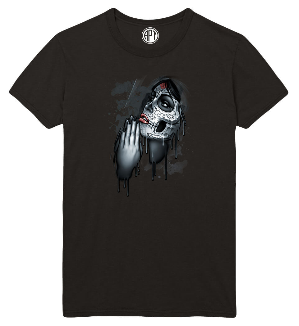 Day of The Dead Pray Printed T-Shirt-Black