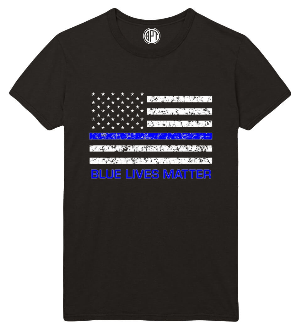 Blue Lives Matter Flag with Blue Line  Printed T-Shirt-Black