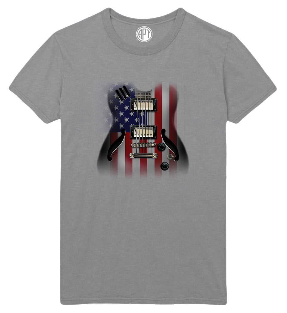 American Flag Guitar Printed T-Shirt-Athletic-Gray