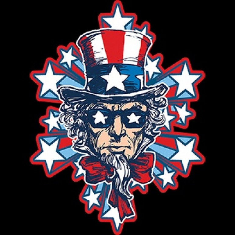 Uncle Sam Stars and Stripes Printed T-Shirt-Black