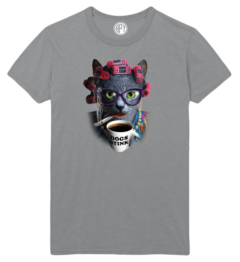 Cat Lady Dogs Stink Printed T-Shirt-Athletic-Gray