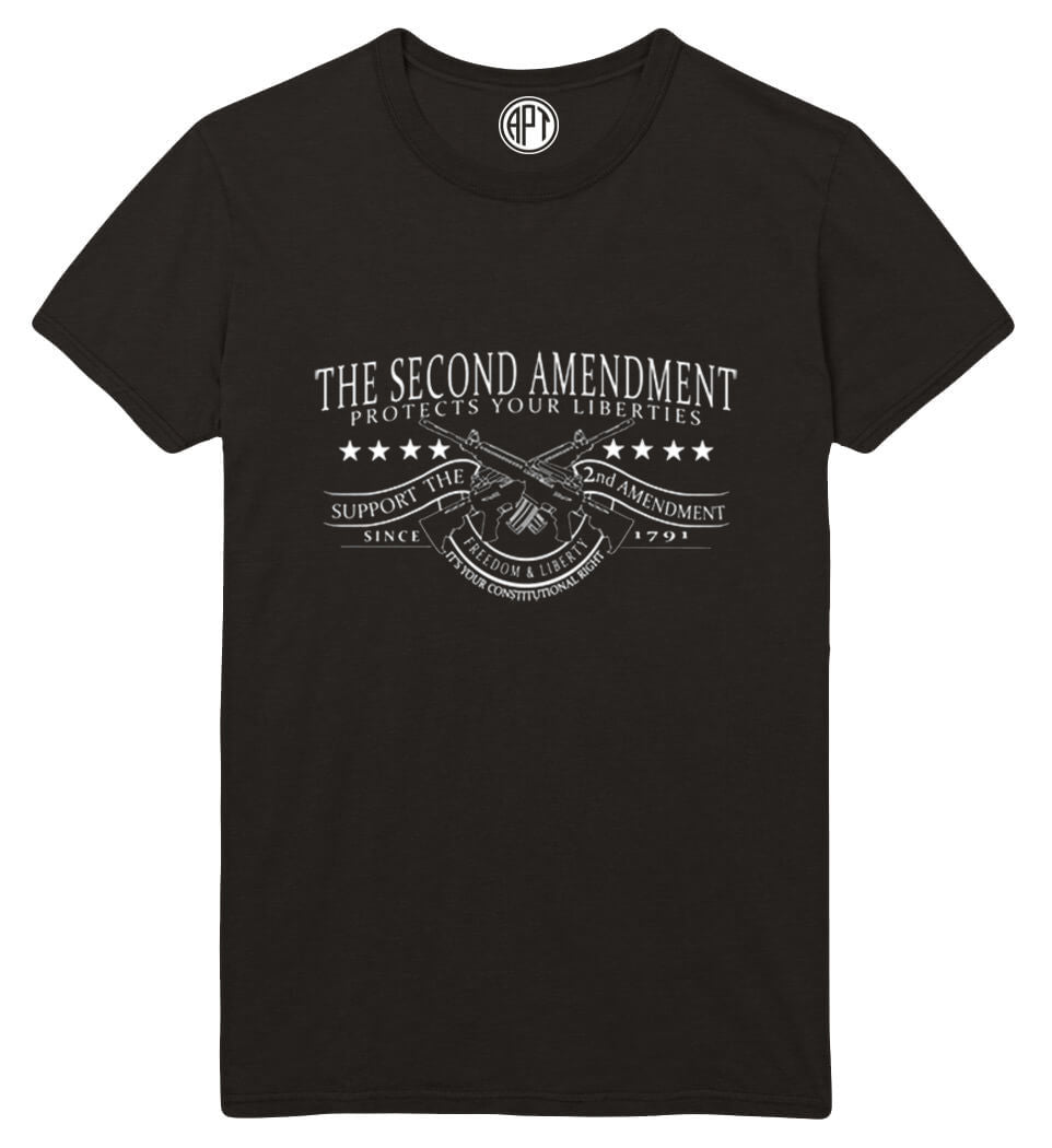 The Second Amendment Protects Your Liberty Printed T-Shirt-Black