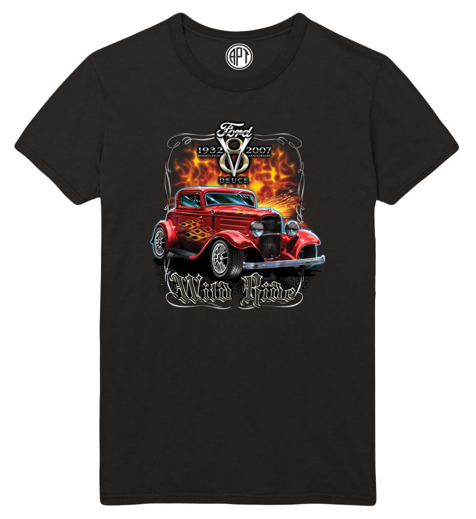 1932 Ford Deuce Coupe Printed T-Shirt-Black