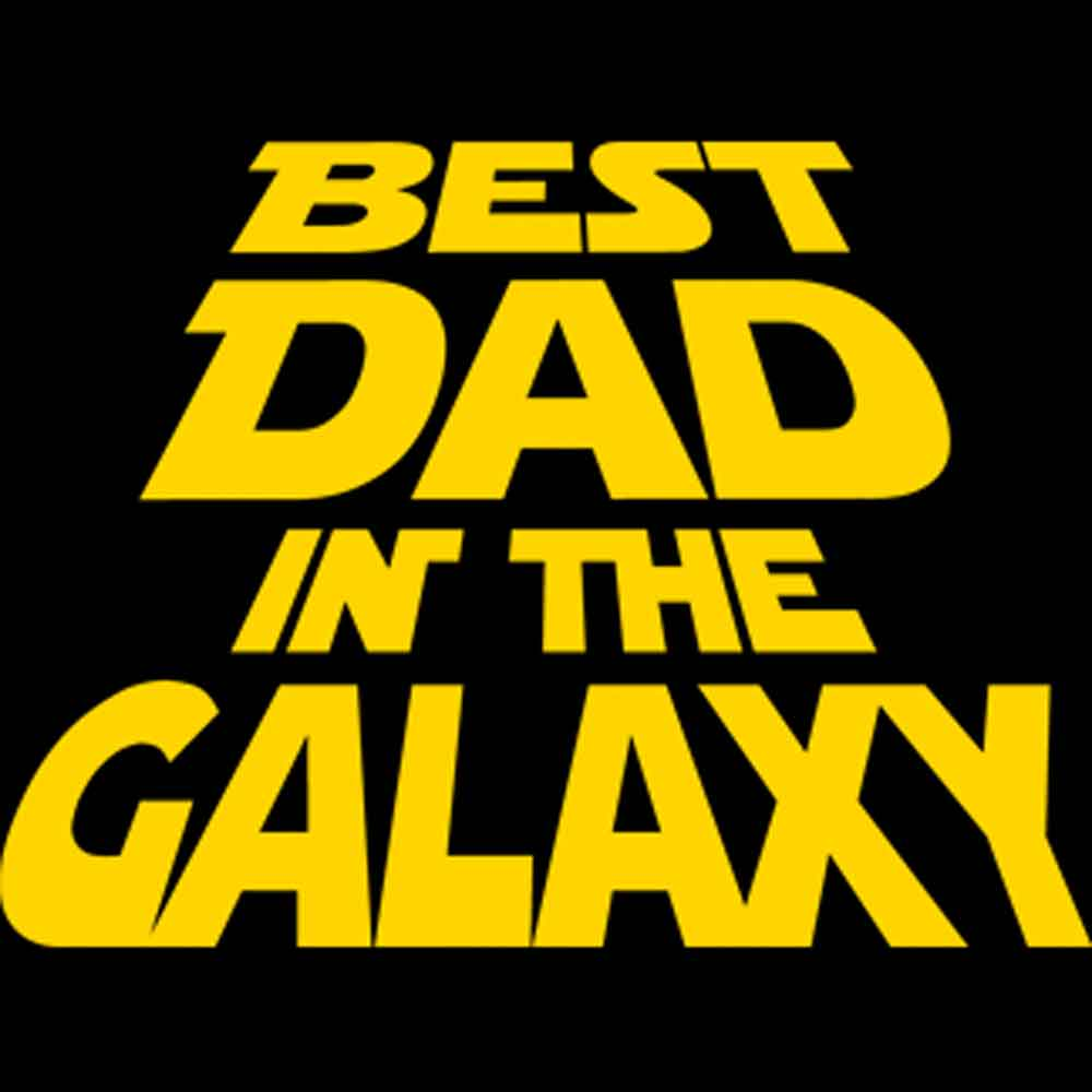 Best Dad In The Galaxy Printed T-Shirt-Black