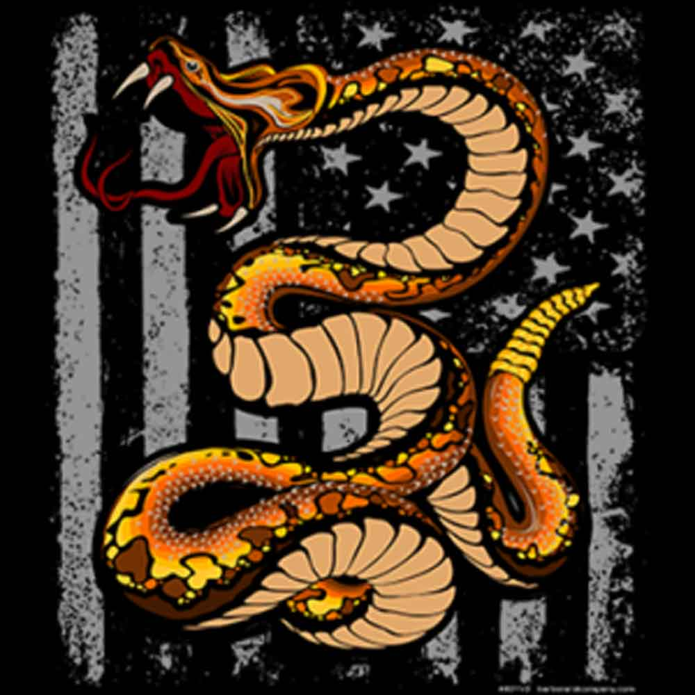 Don't Tread On Me with Snake Flag Printed T-Shirt-White