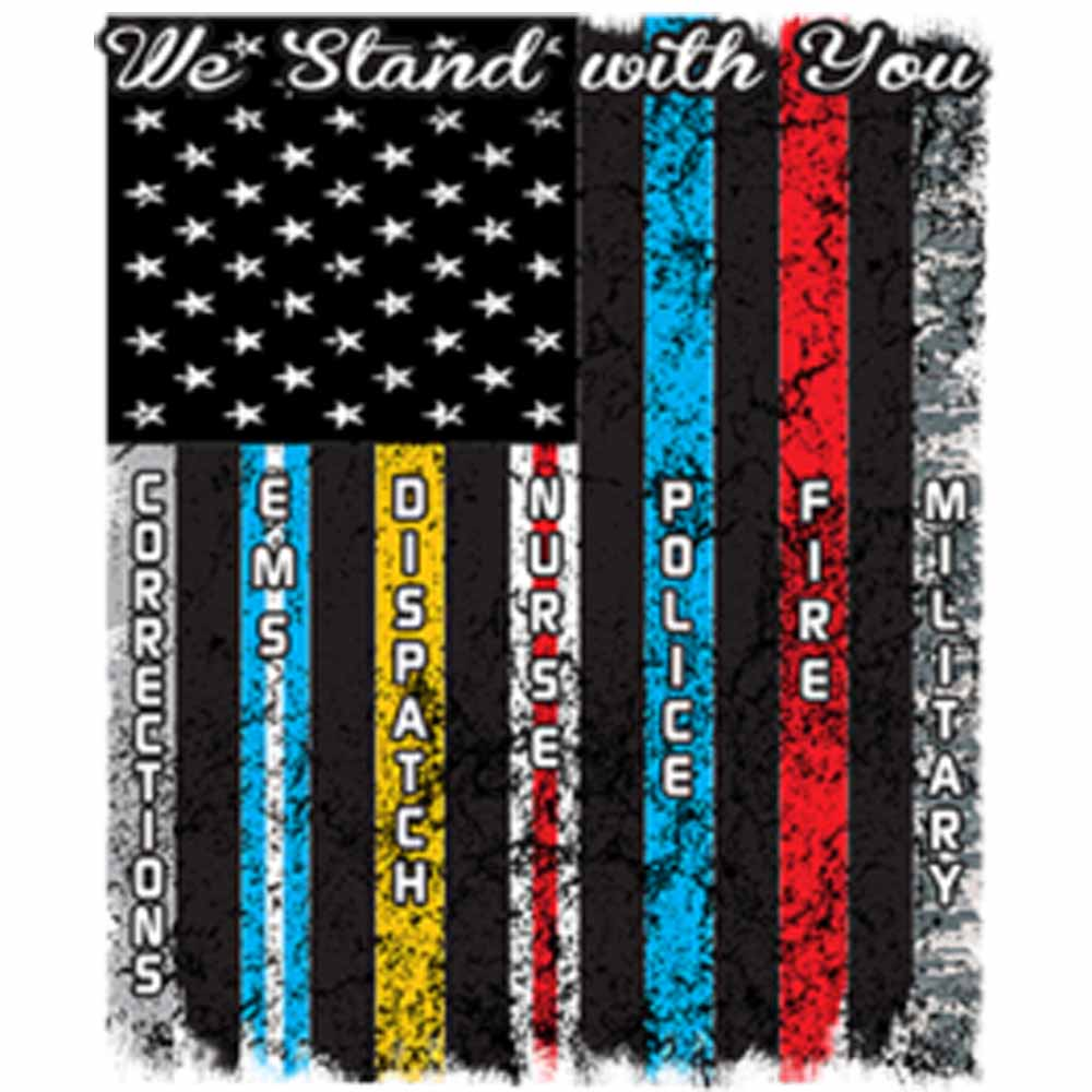 Service Flag We Stand with You Printed T-Shirt-Black