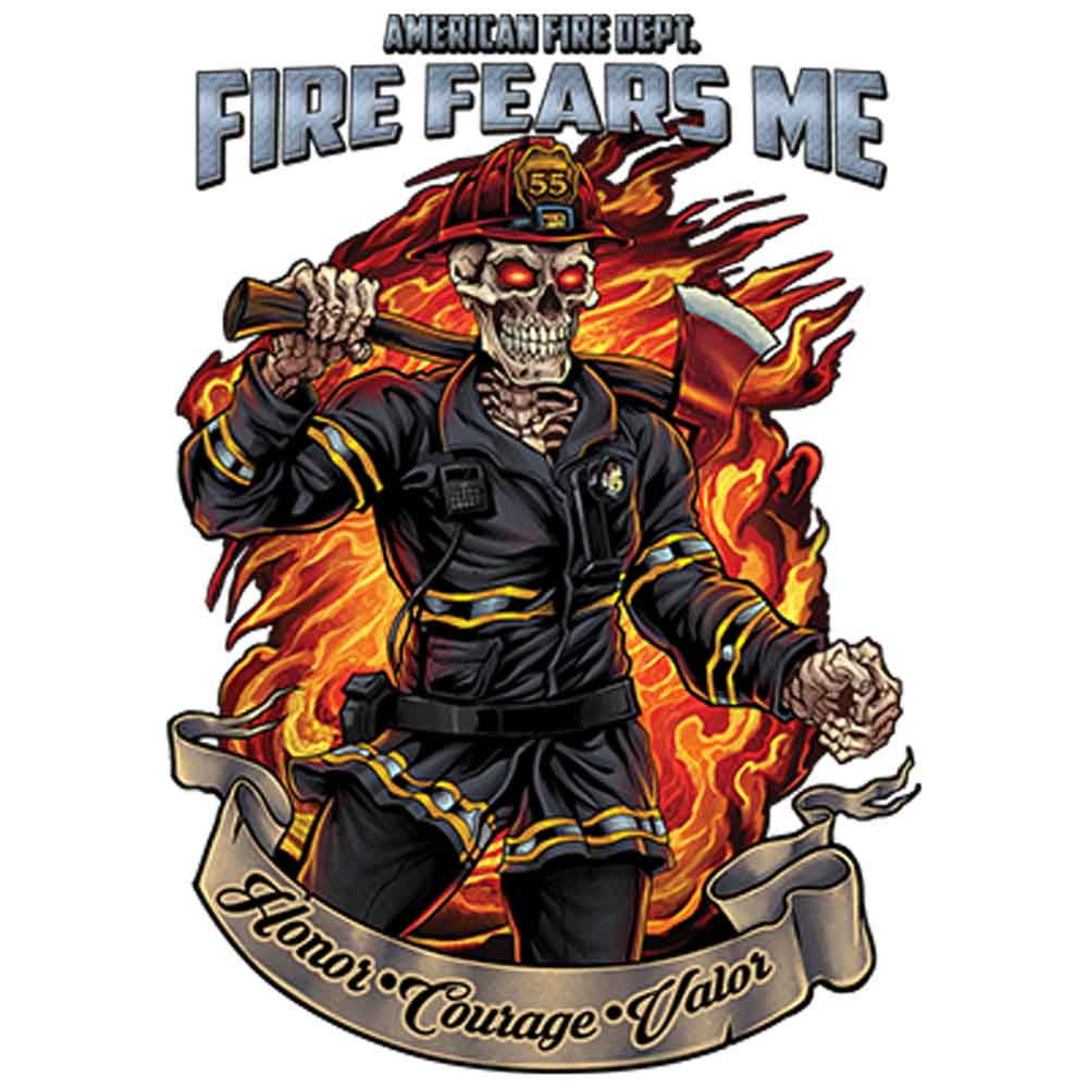 American Fire Dept Honor Courage Valor  Printed T-Shirt-Black