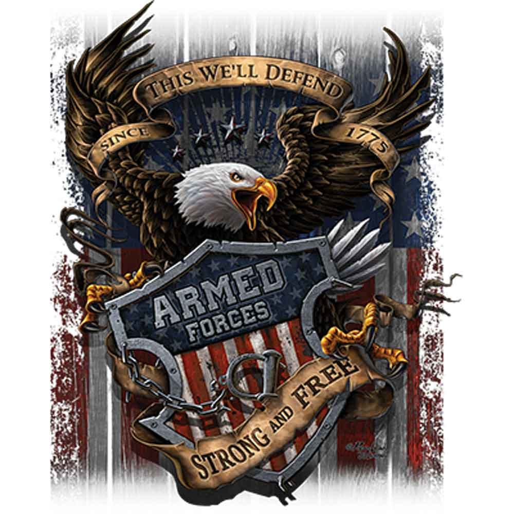 Armed Forces Strong and Free Printed T-Shirt-Black