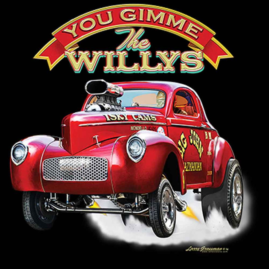 Gimme The Willys Coupe Gas Car Printed T-Shirt-Black