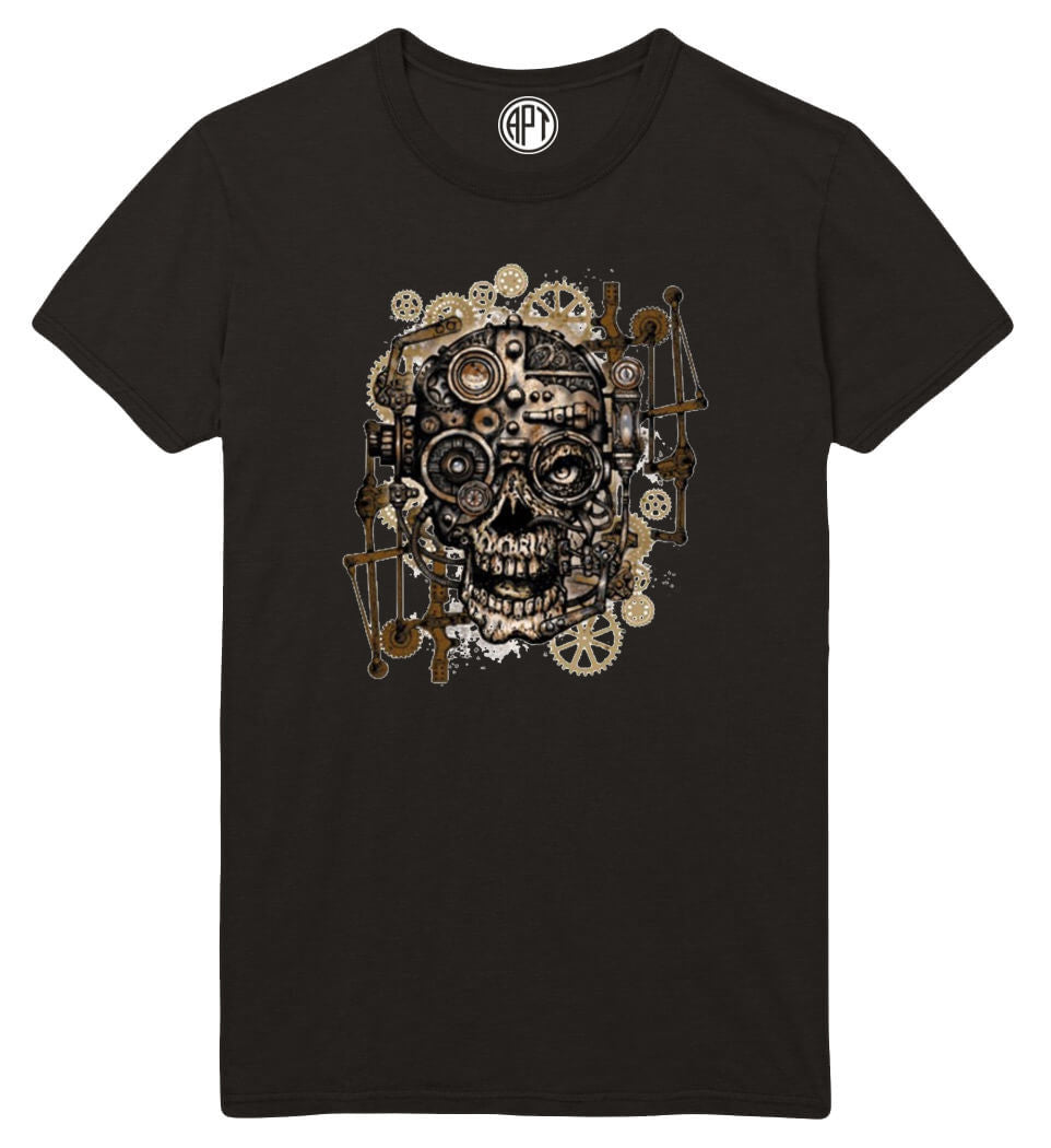 Steampunk and Gears Skull Printed T-Shirt-Black