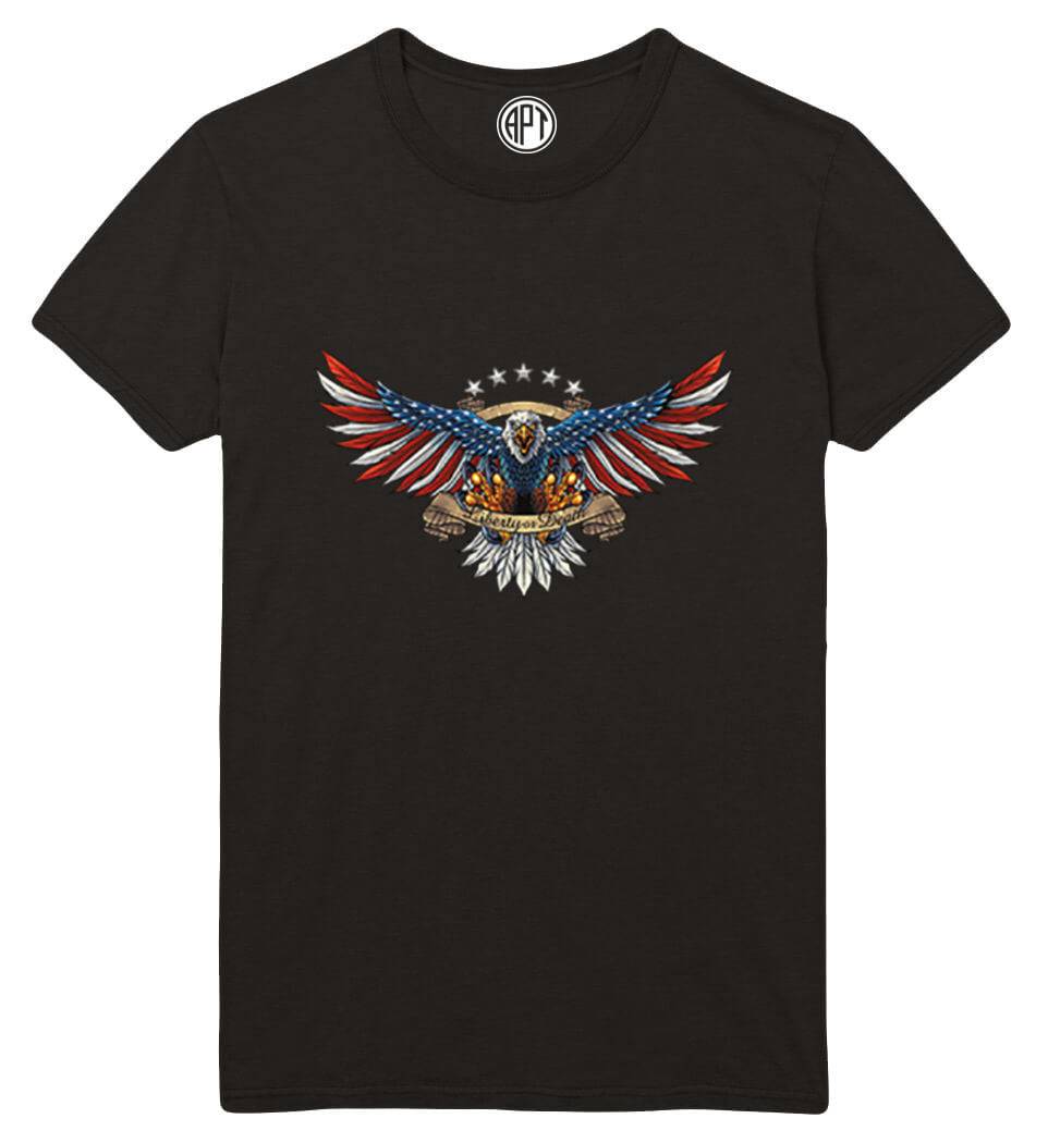 Liberty or Death Eagle American Flag Printed T-Shirt-Black